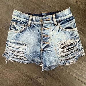 Pants - Distressed Denim Shorts w/ Leopard Detail